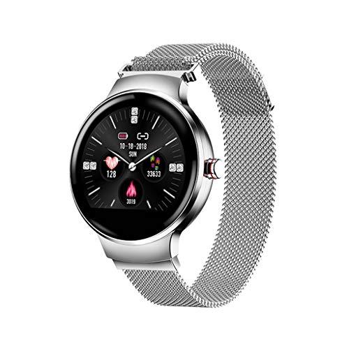 JingJingQi Fitness-Tracker H5 Frauen Smart Uhr IP67 Wasserdicht Herzfrequenzmesser Smartwatch Sport Fitness Tracker Frau Damen Mädchen für Android und IOS, Silber
