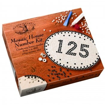 House of Crafts - Mosaic House Number Ceramic Craft Kit Full Boxed Gift Set