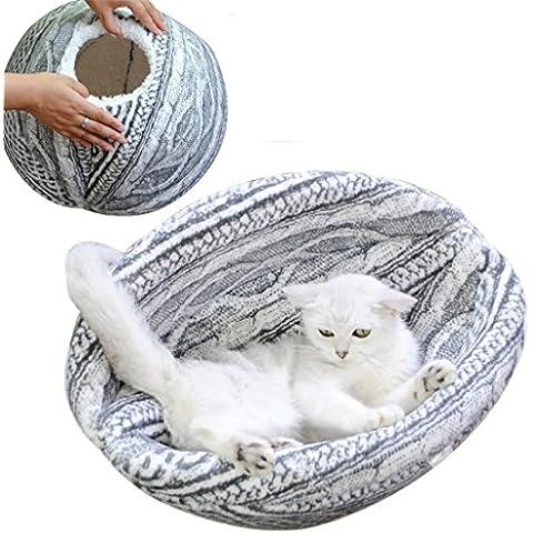 Cómoda cama del animal doméstico animal doméstico Gato del animal doméstico de la cama de la felpa del sueño Nest felinos Gatos con tejido de lana de viento Nido