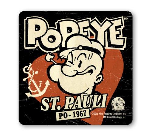 Untersetzer Popeye der Seemann - St Pauli - PO - 1967 - Bierdeckel - schwarz - Lizenziertes Originaldesign - (Sailor Popeye Kostüme The)