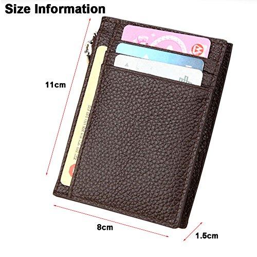 MOXO in pelle RFID blocco carta Slim portafoglio cerniera Mini Card Holder carta di credito biglietto da visita portafoglio uomo donna (caffè)