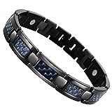 Urban Jewelry Herren Titan Magnet und Carbonfaser Link Armreif Armband (22 cm, schwarz)