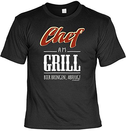 Griller Shirt - Chef am Grill! - mit Mini-Hemd für die Flasche