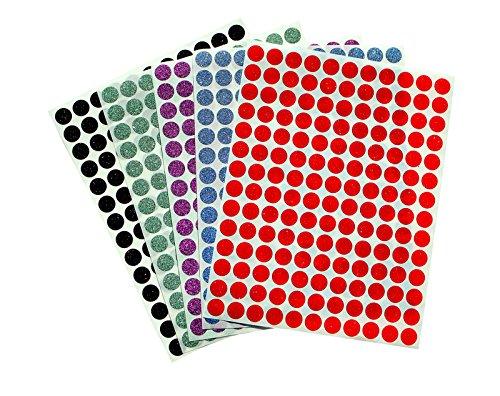 Royal Green - Etiquetas para codificación en color fluorescente, redondas, 10 mm. Pegatinas con diseño de lunares, 5 colores