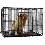 PAWZ Road Caisse pliante pour chien Cage pliante chien chenil pour animal de compagnie Cage avec 2 portes et plateau plastique Caisse chien pour coffre pour le gros chien 5 tailles completes (Taille:XL)