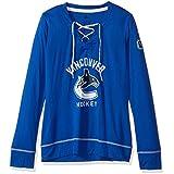 NHL Vancouver Canucks Womens Wordmark Hockey Stitch Skate Lace Topwordmark Hockey Stitch Skate Lace Top, Collegiate Royal Heathered, Large