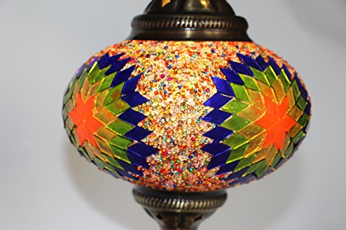 Turkish / Moroccan Mosaic Glass Hanging Ceiling Lamp Pendant Light Fixture, 18cm (Daisy)