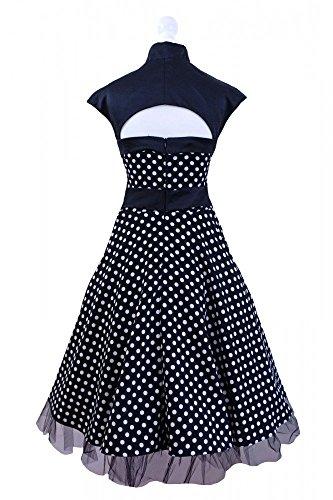 50er Jahre Rockabilly-Kleid INKLUSIVE PETTICOAT 50's - Betty Schwarz, Größe:44/46 -