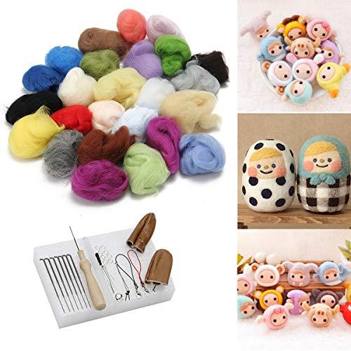 KING DO WAY Filzwolle Trockenfilzen 25 Farben, Filznadel-Starter-Kit mit Wolle, Untersetzer, Werkzeug, Fleece, Merionogarn, Filz DIY Handwerk, für Kinder und Stich-Anfänger