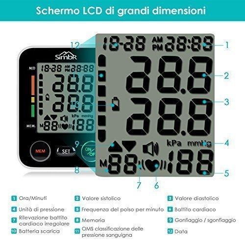 SIMBR Misuratore di Pressione da Polso Digitale per Uso Domestico Completamente Automatico e Precisione,Monitor della Pressione Arteriosa con 180 Memorie per 2 Utenti, Portatile,Certifica CE/ROHS/FDA - 6