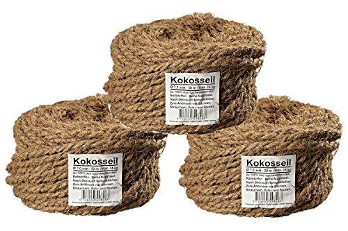 Humusziegel Kratzbaum Seil aus Naturfaser - 7 mm dick 3 x 50 m Kokosseil