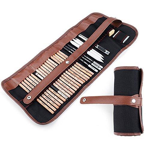 29Stück Professionelle Sketch & Zeichnen Art Tool Kit mit Graphit Bleistifte, Holzkohle Bleistifte, Papier, Handwerk, radierbar, Messer mit Rolling Tasche (Tasche Messer-set Nur)