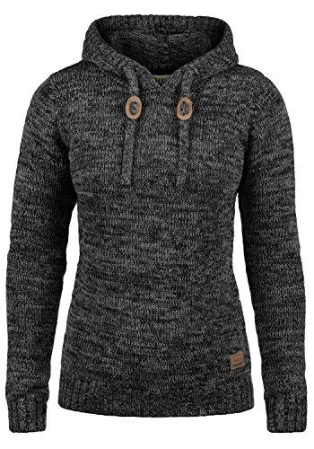 DESIRES Philla Damen Winter Strickpullover Troyer Grobstrick Pullover mit Kapuze, Größe:M, Farbe:Black (9000)