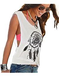 ZKOO Moda Mujeres Sin Mangas Impresión Verano Cuello V Camiseta Tops Camisetas Ocasionales Blanco S