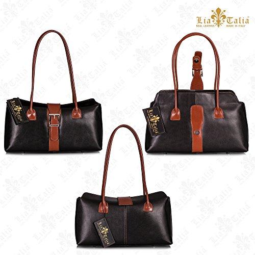 LiaTalia italienische Echtledertasche Top Griff Schnalle Detail Mittelgroßer Ranzen Schulter Handtasche mit Schutztasche - Megan Rosa