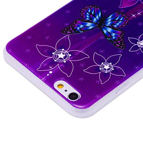 iPhone 6Plus Coque, iPhone 6s Plus Coque, Ultra mince antichoc souple en gel TPU Bumper souple en caoutchouc de silicone de protection Peau avec anti-rayures pour Apple iPhone 6Plus/6s Plus 14cm iP Butterfly & Flower