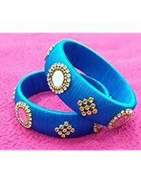 ACT Designer Silk Thread Bangles Sky Blue Colour (Size :2x6)