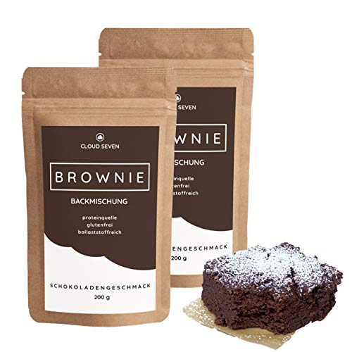 PROTEIN-BROWNIE-MIX - Glutenfrei | Mehr Eiweiß | Lower-Carb | Weniger Zucker & Kcal - CLOUD SEVEN (2x 200 g) (Low Carb Brownies)
