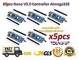 TECNOIOT 5pcs Arduino Nano V3.0 Controller Board Atmega328P Compatible Arduino Nano V3 CH340 |5 stücke Arduino Nano V3.0, Nano CH340 / ATmega328P Bord, kompatibel mit Arduino Nano V3.0