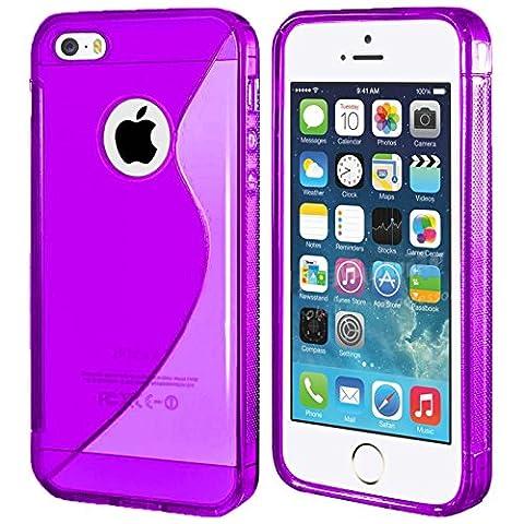Apple iPhone 5/5S Violet Gel TPU Housse Etui peau plus Film protecteur d'écran et chiffon de nettoyage