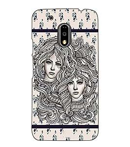 Fuson Designer Back Case Cover for Motorola Moto G4 Plus (Twins lady theme)