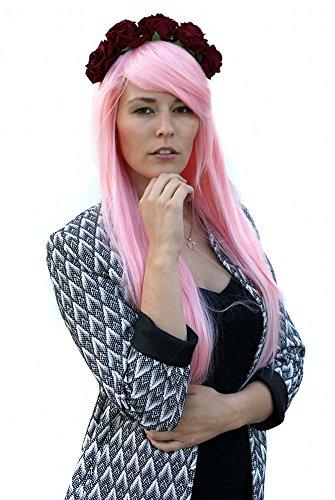 Prettyland C921 - 80 cm perruque Lolita lisse - résistante à haute température - rose