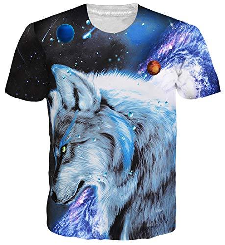 Goodstoworld T Shirt 3D Druck Herren Damen Galaxy Wolf Print Sommer Lustige Beiläufige Kurzarm Partner T-Shirts T-Stücke S -