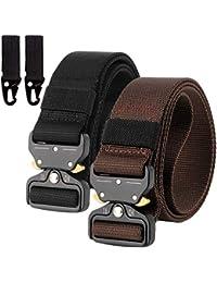 2 Piezas Cinturón Hombres Táctico Militar Ajustable Lona Nylon Hebilla de Metal para Entrenamiento de Caza Ejército