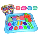 Huge Pack of Kinetic Sand - 4 Colours 4.4lbs, 18 pcs Tool, Large Playing Tray, Travel Box, Eco Friendly