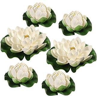 Vosarea 6pcs Lirios de Agua Artificiales Plantas de Estanque de simulación de Loto Flores flotantes Adornos de decoración de Estanque – Blanco