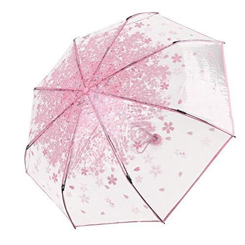 Milopon Taschenschirme Stockschirme Kirschblüten Transparente Halb-Automatik Regenschirm für Damen und Mädchen (Rosa)