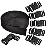 REKYO 1 Inch Wide 10 Yards Black Nylon Heavy Webbing Strap and 12 PCS Flat Side Release Buckles Nylon Webbing Tape For DIY Craft Backpack Strapping