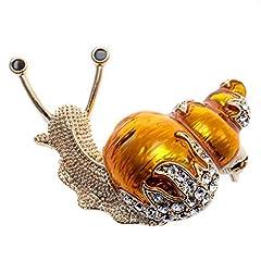 Idea Regalo - Loveangel Jewellery Spilla a forma di lumaca con cristalli, collezione di accessori e gioielli da donna e rame, colore: Yellow, cod. WB09-A