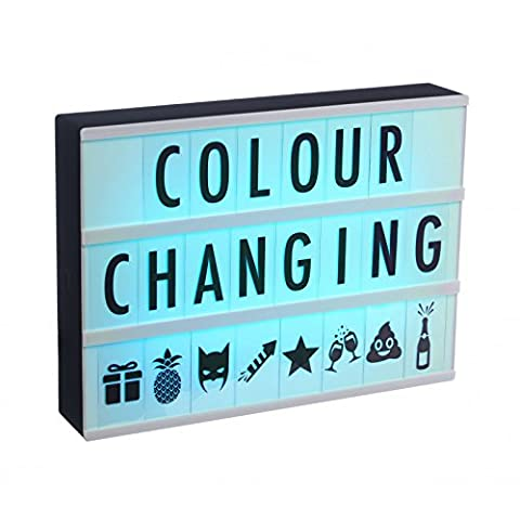 Ginger Snap Cinematic LED Colour Changing A4 Light Box with 120 Black Letters, Numbers & Symbols, Plastic, Black Shell