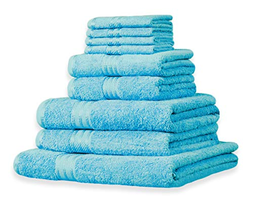 Restmor knightsbridge set completo di asciugamani 100% cotone egiziano morbidi e resistenti - verde acqua
