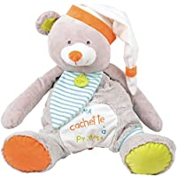 Baby Nat - Peluche para guardar el pijama, diseño osito Oscar, color gris