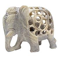 Shalinindia - Stone Elephant Statue - Elephant Decor - Impossible Stone Art Sculpture - 5 Inch Handmade Soapstone Figurine of Mother Elephant with Baby Inside