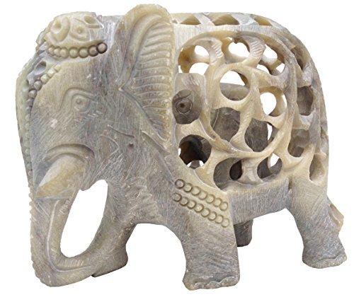 Charakter Tag Ideen Für (SouvNear Handgefertigte Speckstein Skulptur eines Mutter Elefanten mit Baby im Innern – Unglaubliches Elefanten Dekor - für Büro / Familie Zimmer / Zuhause / Tabelle)