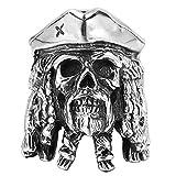 J-Z Personalidad de Los Hombres Vintage Caribe Pirata Jack Avatar Cabeza del Cráneo Anillos, Plata, 12