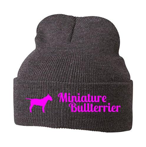 Strickmütze - MINIATURE BULLTERRIER Bull Terrier britische Hunderasse MINI - Stickerei Hund Winter Mütze Wintermütze Beanie Mütze Siviwonder grey melange-neonpink