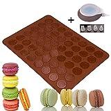 LangTek Backmatte Macarons, Baiser Makronenplatte 48 Silikonform Macarons Shell 1 Sockeltasche 4 Steckdosen in Verschiedenen Formen