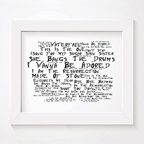 `Noir Paranoiac` Art Print - THE STONE ROSES - First Album - Signed & Numbered Limited Edition Typography Unframed 25 x 20 cm (10 x 8 inch) Collectable Gift For Music Fan - Album Song Lyrics Poster
