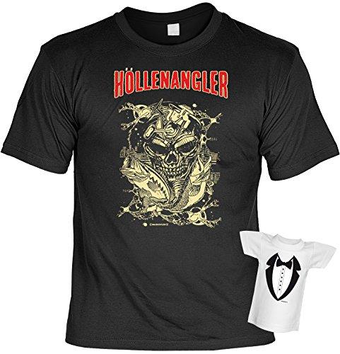 cooles Fun T-Shirt für Herren in schwarz mit Mini T-Shirt, Höllenangler mit Totenkopf Motiv, ideales witziges Geschenk Schwarz
