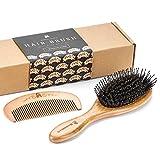 Bambus Wildschweinborsten Haarbürste mit Entknotungsstiften, machen Haar Glänzend und Seidig, Inbegriffen Holzkamm