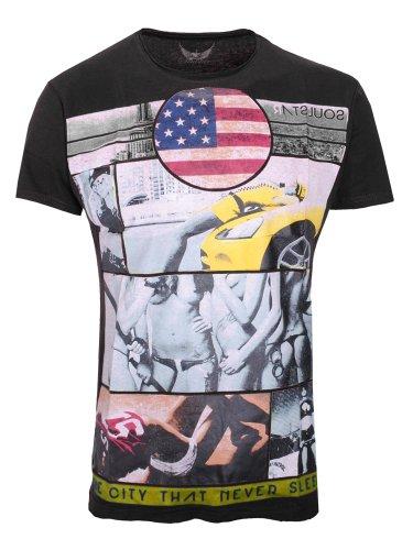 Soulstar Herren T-Shirt Rundhals Kurzarm Mt-Taxi13R Schwarz