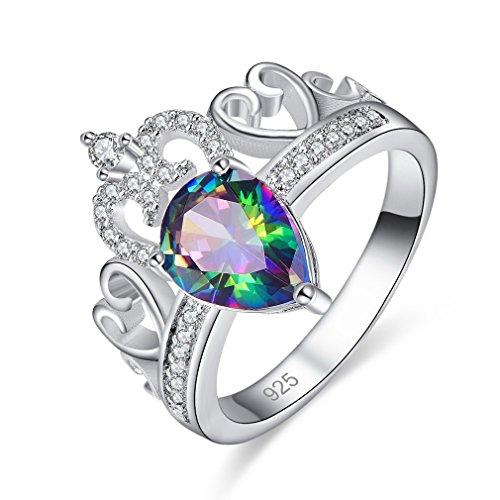 Ring Krone Set Versprechen (YAZILIND Versprechen Ringe Krone Intarsien Strass Tropfenform Zirkonia hohlen Herzform platiniert Engagement für damen größe 17.2)