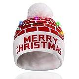 Hifot Cappello Beanie con Cappuccio LED Light Up Beanie cap di Natale Luminoso e colorato Caldo Berretto a Maglia novità (Mattone Rosso)
