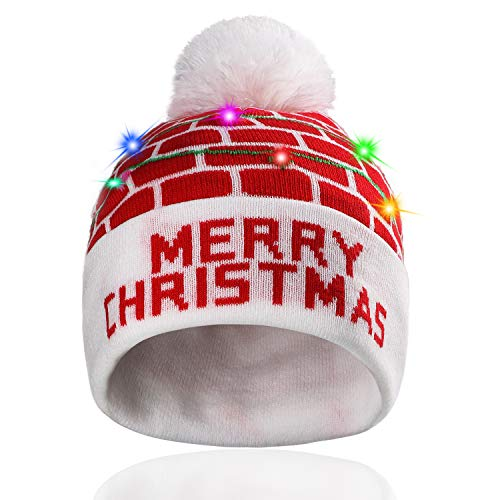 Hifot LED Leuchten Hut Mütze Stricken Helle und Bunte Xmas Christmas Weihnachten Warme Neuheit Strickmütze - Roter Ziegelstein