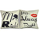 "Luxbon 2 Fundas CojIn Almohada Lino Mr. Right & Mrs. Always Right Día de San Valentín Decoración para Sofá Cama Coche 18x18"" 45x45 cm"