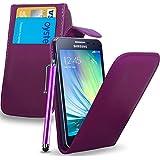 Samsung Galaxy A3 (Not For 2016) - Étui rabattable en cuir housse capot + Touch Stylet + écran protecteur & chiffon de polissage ( violet foncé )